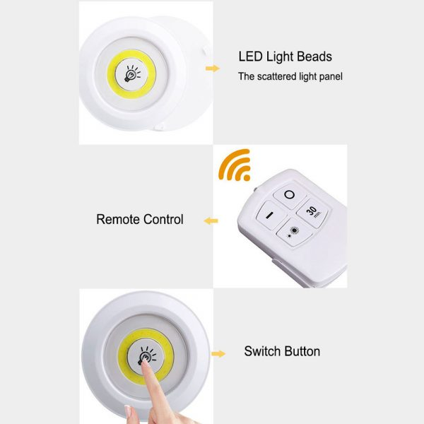 Touch and Remote-Controlled Wireless LED Dimmable Closet Kitchen Wardrobe Puck Lights_10