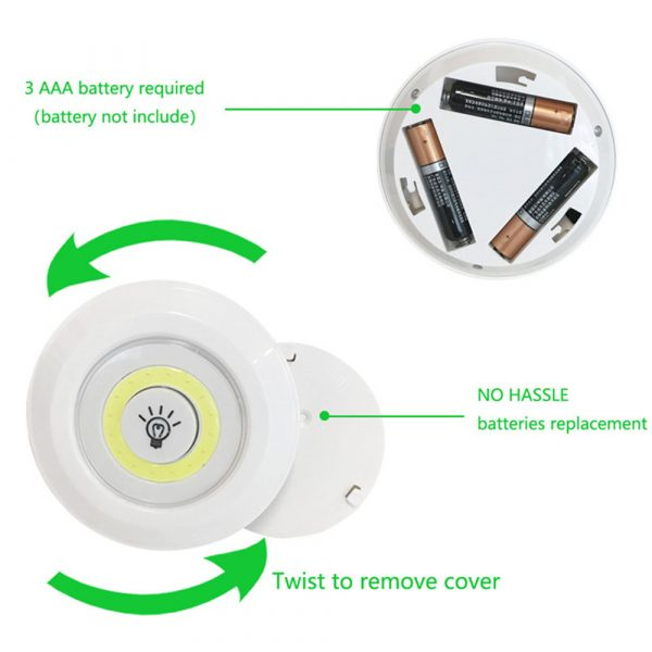 Touch and Remote-Controlled Wireless LED Dimmable Closet Kitchen Wardrobe Puck Lights_12