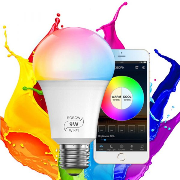 Wi-Fi Enabled 9W Color Changing Smart LED Light Bulb APP Ready_2