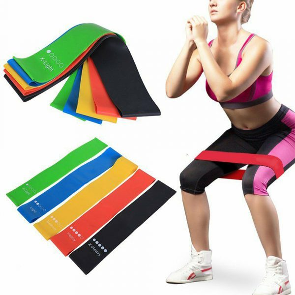 5-Pc Skin Friendly Different Levels Yoga Resistance Bands_0