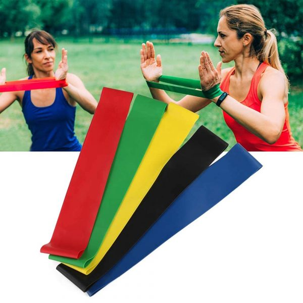 5-Pc Skin Friendly Different Levels Yoga Resistance Bands_4