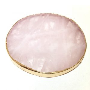 Natural Pink Crystal with Gold Edges Drink Coaster