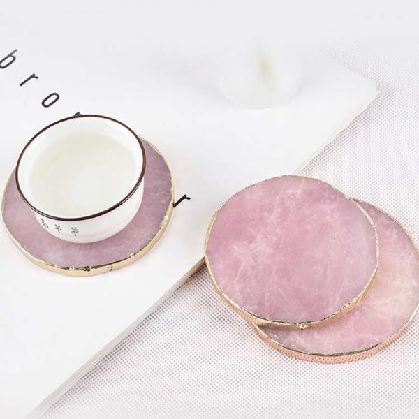 Natural Pink Crystal with Gold Edges Drink Coaster_4