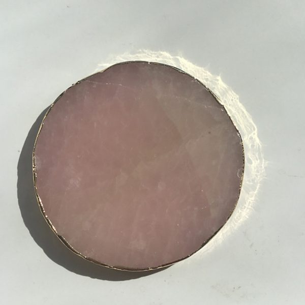 Natural Pink Crystal with Gold Edges Drink Coaster_6