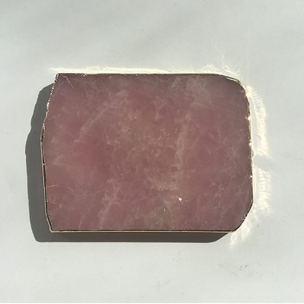 Natural Pink Crystal with Gold Edges Drink Coaster_7