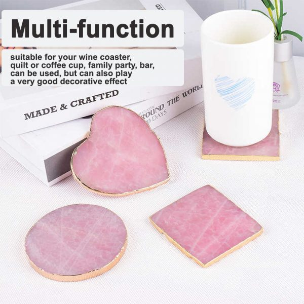Natural Pink Crystal with Gold Edges Drink Coaster_8