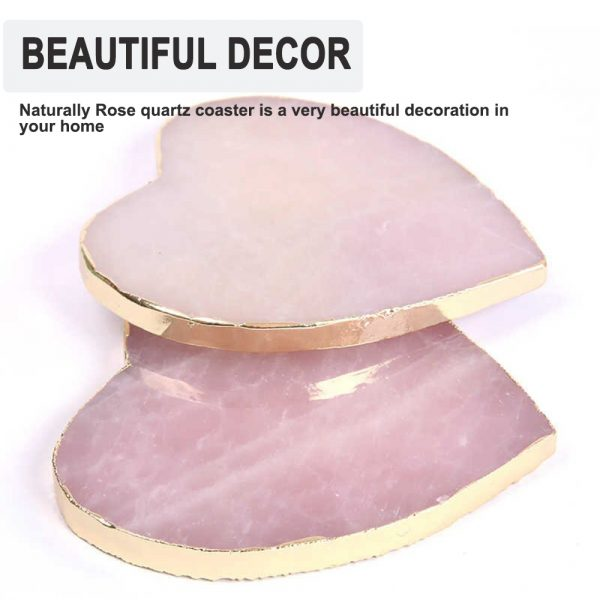 Natural Pink Crystal with Gold Edges Drink Coaster_9