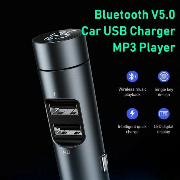 Wireless Car Bluetooth Transmitter and Charger Column Style_11