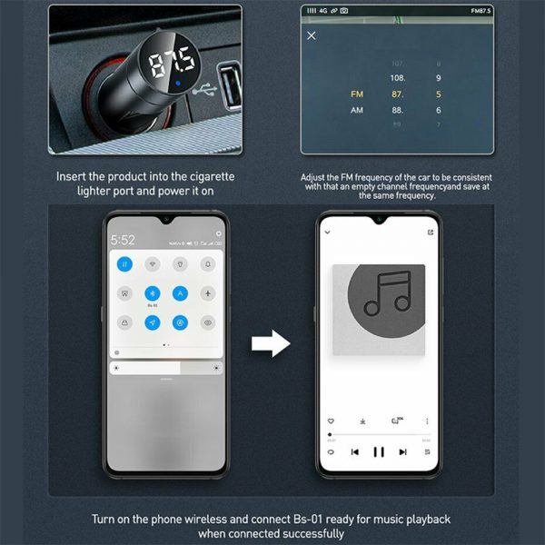 Wireless Car Bluetooth Transmitter and Charger Column Style_12