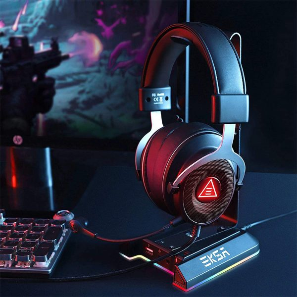 Gaming Headset Stand with 7.1 Surround Sound & USB Ports_2