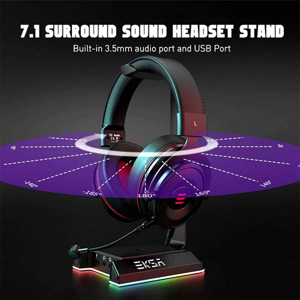 Gaming Headset Stand with 7.1 Surround Sound & USB Ports_4