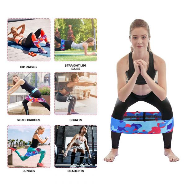 Camouflage Non-Slip Hip Trainer Resistance Bands_16