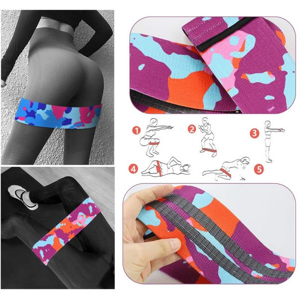 Camouflage Non-Slip Hip Trainer Resistance Bands_17