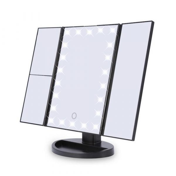 Tri-Fold Makeup Mirror Vanity Mirror with LED Lights_0