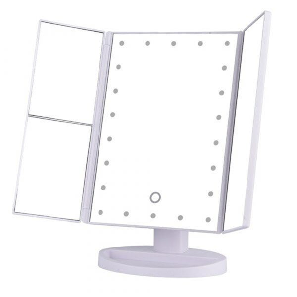 Tri-Fold Makeup Mirror Vanity Mirror with LED Lights_1
