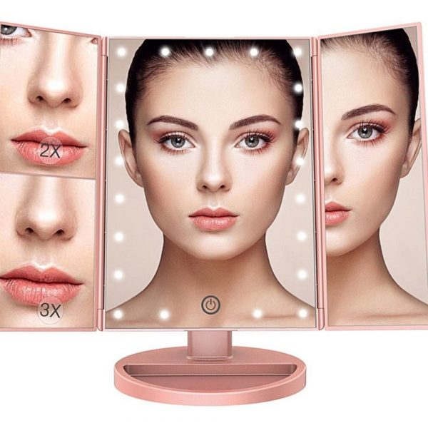 Tri-Fold Makeup Mirror Vanity Mirror with LED Lights_3
