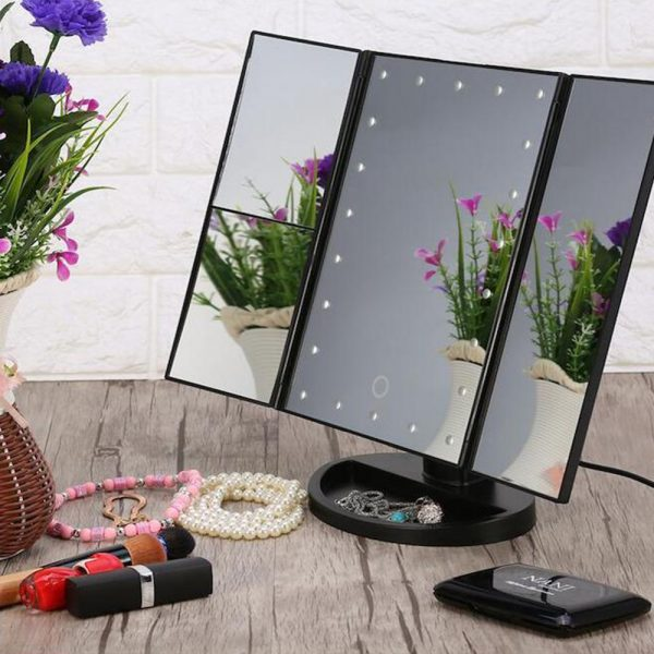 Tri-Fold Makeup Mirror Vanity Mirror with LED Lights_5
