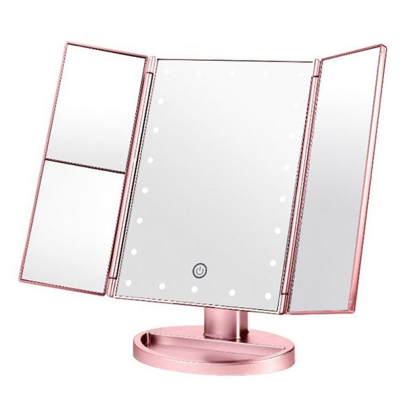 Tri-Fold Makeup Mirror Vanity Mirror with LED Lights_2