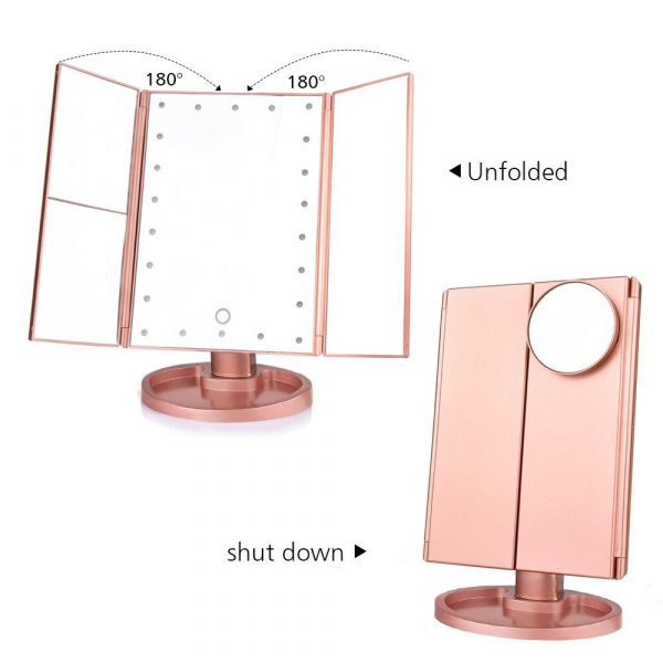 Tri-Fold Makeup Mirror Vanity Mirror with LED Lights_7