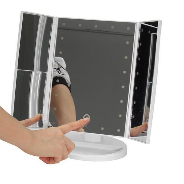 Tri-Fold Makeup Mirror Vanity Mirror with LED Lights_9