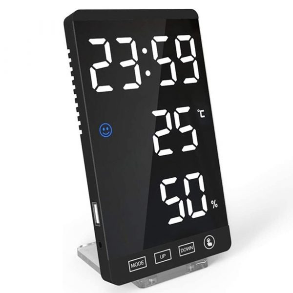 6-inch LED Mirror Touch Button Alarm Clock_0