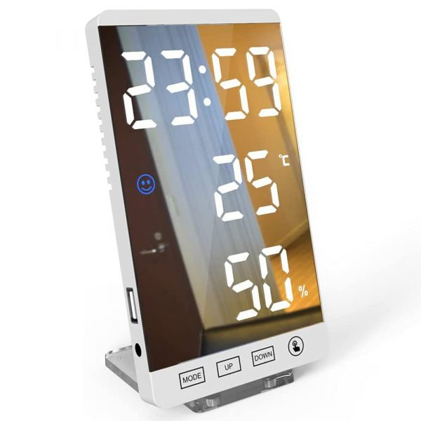 6-inch LED Mirror Touch Button Alarm Clock_1