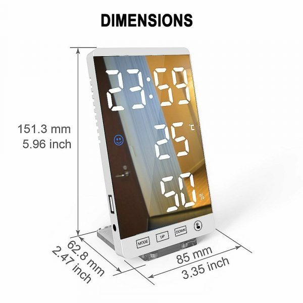 6-inch LED Mirror Touch Button Alarm Clock_5