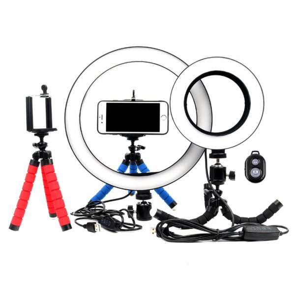 26cm Dimmable LED Selfie Ring Light with Tripod_0
