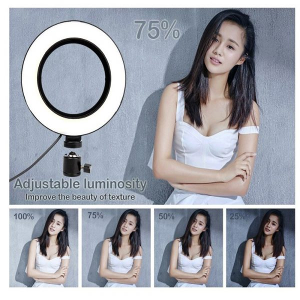 26cm Dimmable LED Selfie Ring Light with Tripod_8