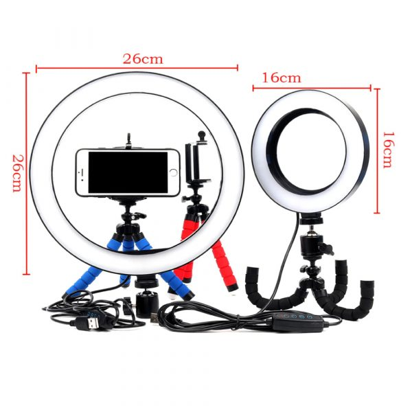 26cm Dimmable LED Selfie Ring Light with Tripod_9