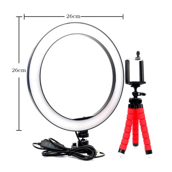 26cm Dimmable LED Selfie Ring Light with Tripod_10