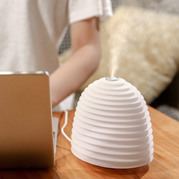 USB Interface Round LED Bedside Night Light Humidifier and Diffuser_2
