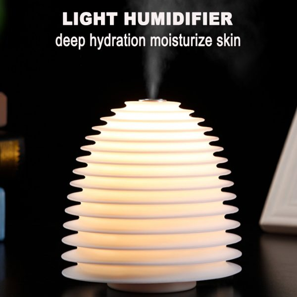 USB Interface Round LED Bedside Night Light Humidifier and Diffuser_3