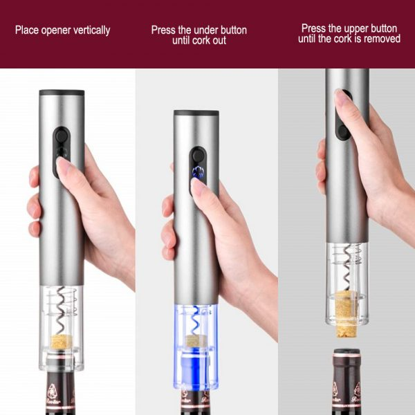 4-in-1 Electric Corkscrew Rechargeable Cordless Wine Bottle Opener Set_4