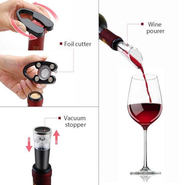 4-in-1 Electric Corkscrew Rechargeable Cordless Wine Bottle Opener Set_5