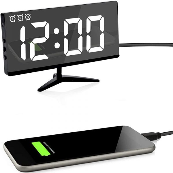 Frameless Touch Control Digital Alarm Clock with Temperature Display_2