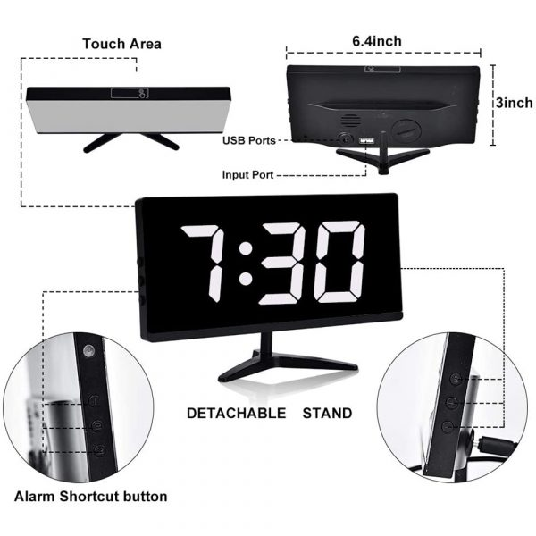 Frameless Touch Control Digital Alarm Clock with Temperature Display_5