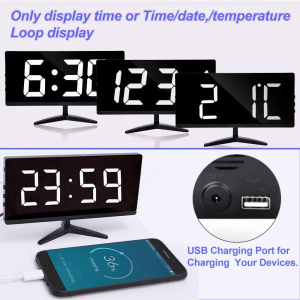 Frameless Touch Control Digital Alarm Clock with Temperature Display_6