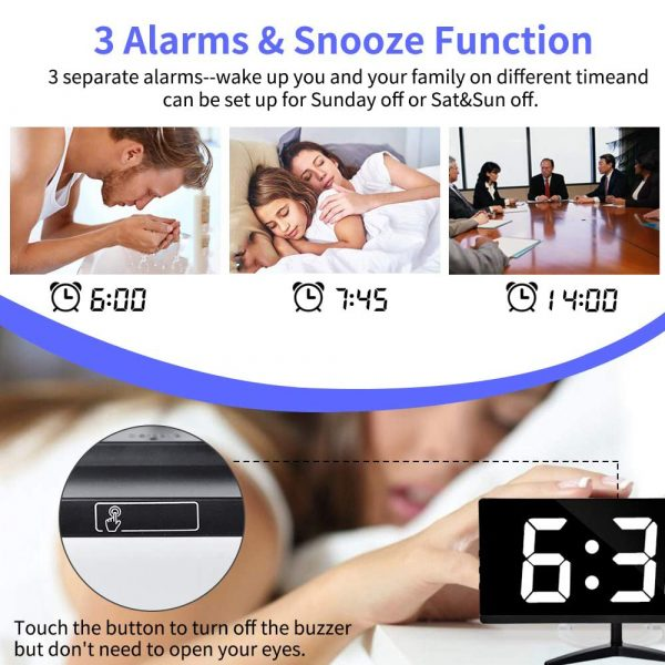 Frameless Touch Control Digital Alarm Clock with Temperature Display_7