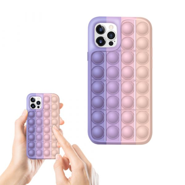 Rainbow Silicone Phone Case for iPhone Devices Stress Reliever Pop Bubble_4