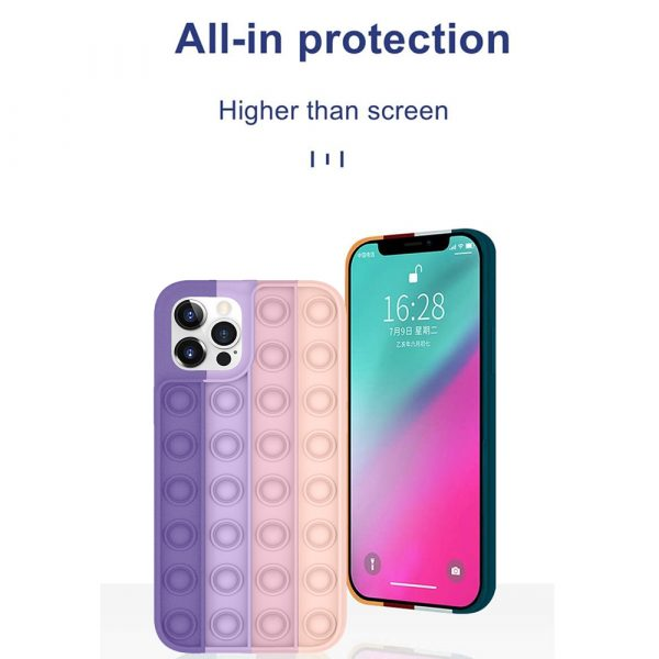 Rainbow Silicone Phone Case for iPhone Devices Stress Reliever Pop Bubble_5