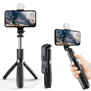 2-in-1 Foldable Monopod and Tripod with Remote Control Shutter Fill Light