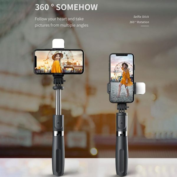 2-in-1 Foldable Monopod and Tripod with Remote Control Shutter Fill Light_12