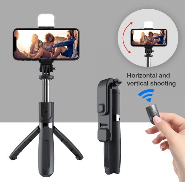 2-in-1 Foldable Monopod and Tripod with Remote Control Shutter Fill Light_14