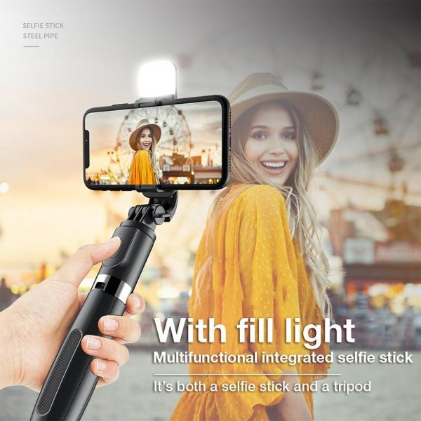 2-in-1 Foldable Monopod and Tripod with Remote Control Shutter Fill Light_4