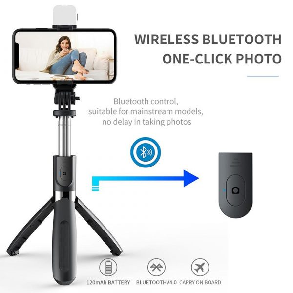 2-in-1 Foldable Monopod and Tripod with Remote Control Shutter Fill Light_7