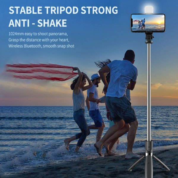 2-in-1 Foldable Monopod and Tripod with Remote Control Shutter Fill Light_11