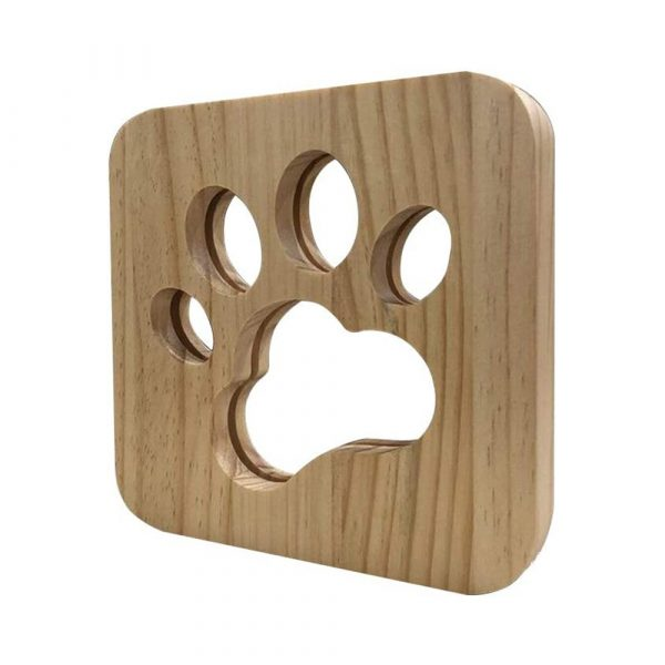 USB Plugged-in Wooden Dag Paw Print LED Night Decorative Lamp_0