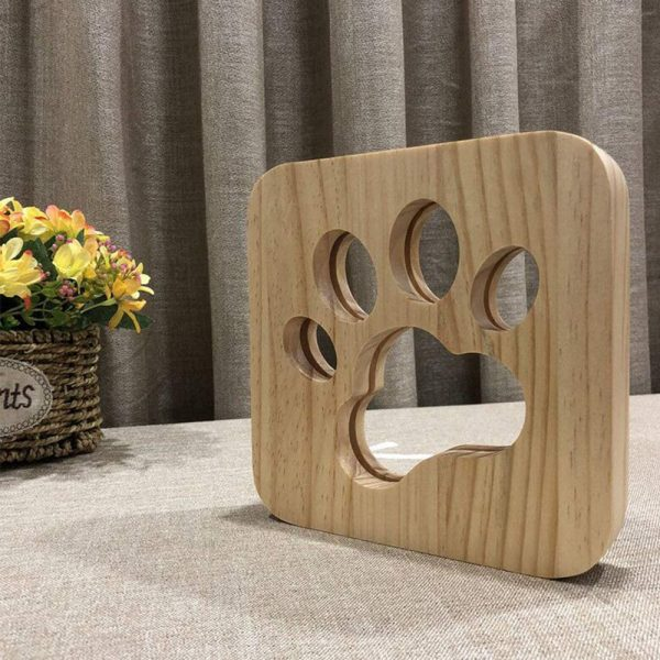 USB Plugged-in Wooden Dag Paw Print LED Night Decorative Lamp_1