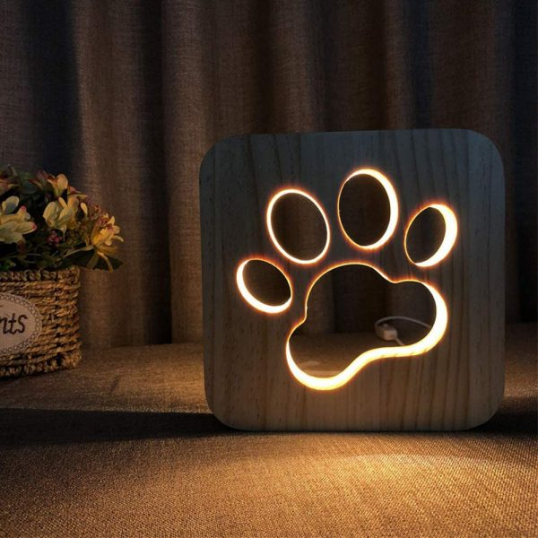 USB Plugged-in Wooden Dag Paw Print LED Night Decorative Lamp_2